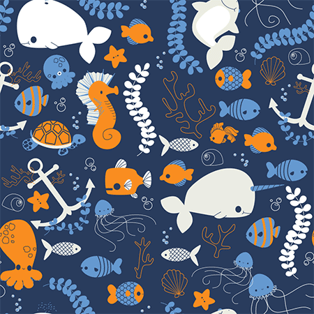 Ocean Friends Seamless Pattern