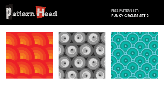 Free funky circles repeat patterns from Patternhead.com