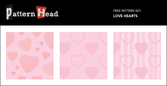 Free love hearts repeat patterns from Patternhead.com