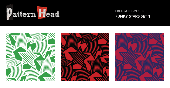 Free funky stars vector repeat patterns from Patternhead.com
