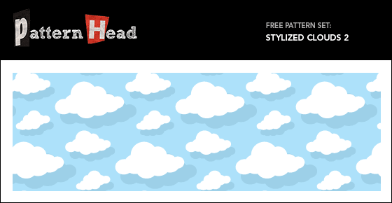Free blue sky and white cloud vector repeat pattern from Patternhead.com