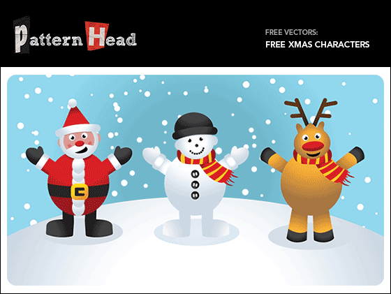 Free Christmas vectors of Father Christmas, Snowman and Reindeer